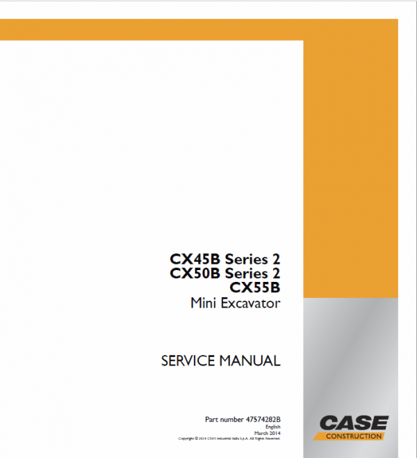 Case CX45B, CX50B, CX55B Series 2 Mini Excavator Service Manual