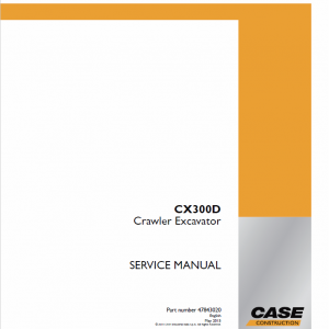 Case CX300D Crawler Excavator Service Manual