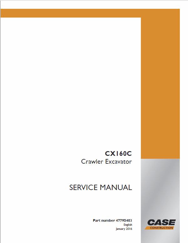 Case CX160C Excavator Service Manual