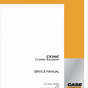 Case CX260C Excavator Service Manual