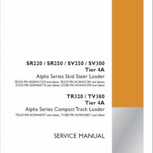 Case SR220, SR250, SV250, SV300 SkidSteer Service Manual