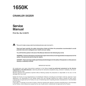 Case 1650K Crawler Dozer Service Manual