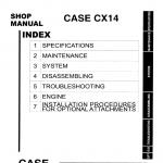 Case CX14 Excavator Service Manual