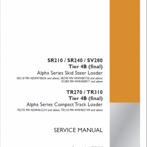 Case TR270, TR310 Track Loader Service Manual