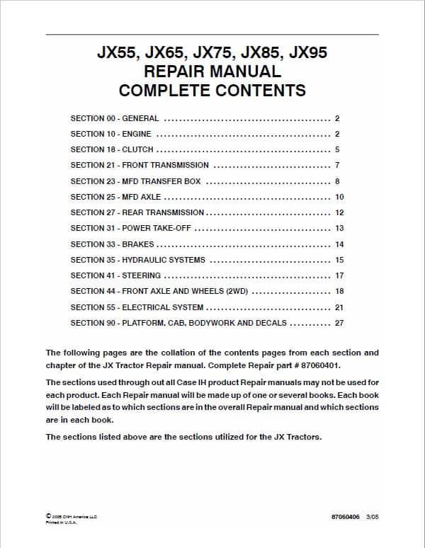 Case JX55, JX65, JX75, JX85, JX95 Tractor Service Manual