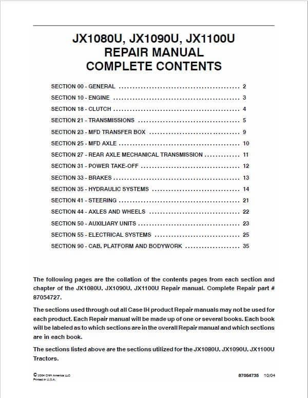 Case JX1080U, JX1090U, JX1100U Tractor Service Manual