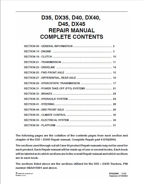 Case DX35, DX40, DX45 Tractor Service Manual