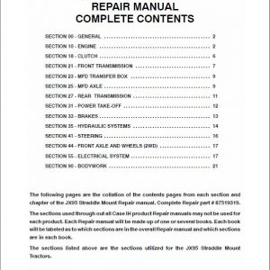 Case JX95 Straddle Tractor Service Manual