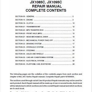 Case JX1060C, JX1070C, JX1075C, JX1085C, JX1095C Tractor Service Manual