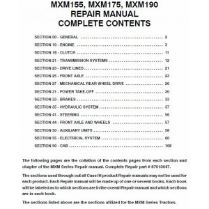 Case MXM155, MXM175, MXM190 Tractor Service Manual