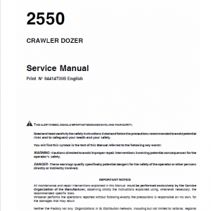 Case 2550 Crawler Dozer Service Manual