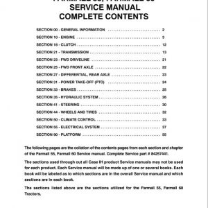 Case Farmall 55, 60 Tractor Service Manual
