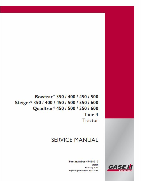 Case 450, 550, 600 Quadtrac Tractor Service Manual