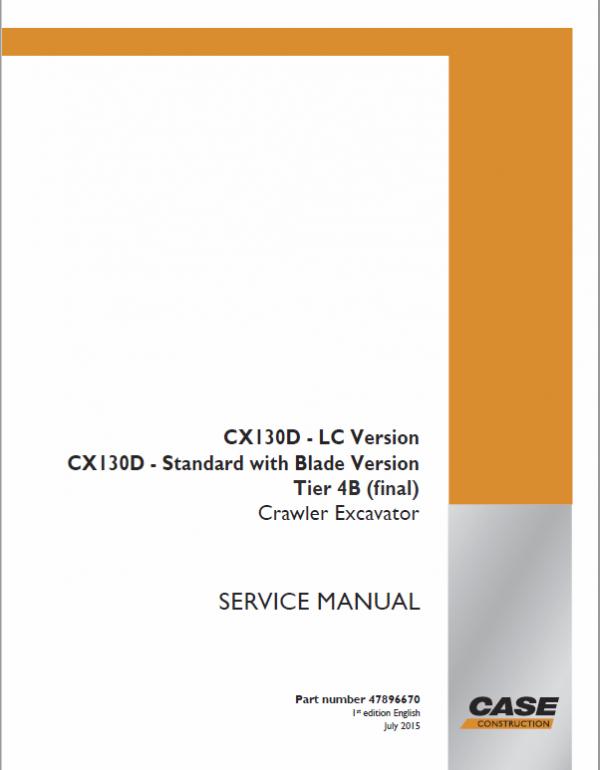 Case CX130D Crawler Excavator Service Manual