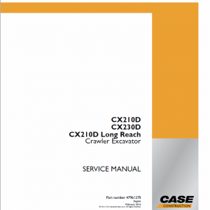 Case CX230D Crawler Excavator Service Manual