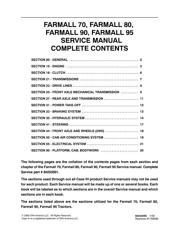 Case Farmall 70, 80, 90, 95 Tractor Service Manual