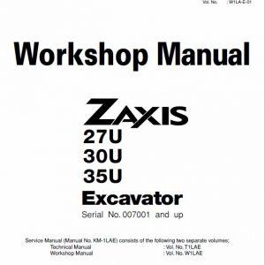 Hitachi Zaxis 27U, 30U, 35U Excavator Service Manual