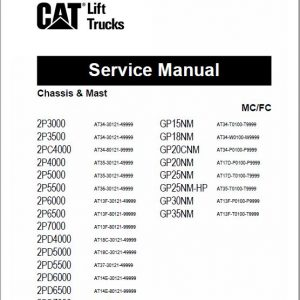 CAT 2P5000, 2P5500, 2P6000, 2P6500, 2P7000 Lift Truck Service Manual