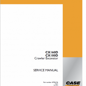 Case CX180D Crawler Excavator Service Manual