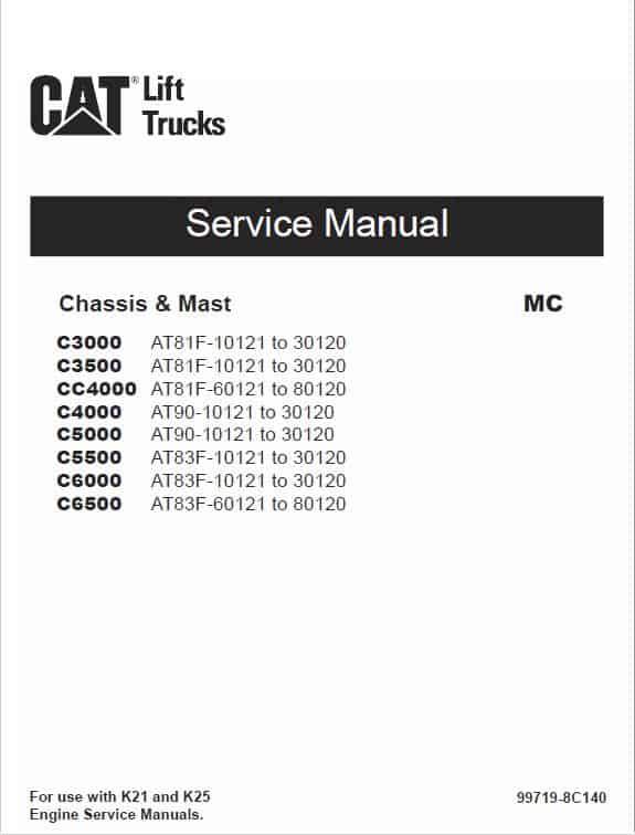 CAT C4000, C5000, C5500, C6000, C6500 Lift Truck Service Manual