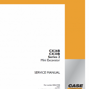 Case CX26B, CX30B Series 2 Mini Excavator Service Manual