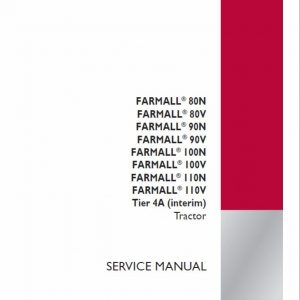 Case Farmall 80V, 90V, 100V, 110V Tractor Service Manual