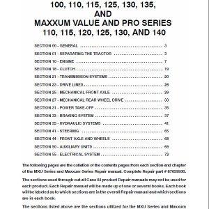 Case MXU125, MXU130, MXU135, MXU140 Maxxum Tractor Service Manual