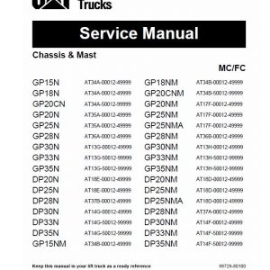 CAT GP15N, GP18N, GP20CN, GP20N Forklift Lift Truck Service Manual