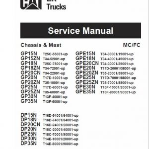 CAT DP25N, DP30N, DP35N Forklift Lift Truck Service Manual