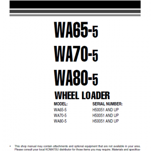 Komatsu WA65-5, WA70-5, WA80-5 Wheel Loader Service Manual