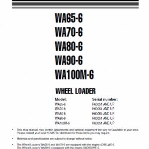 Komatsu WA65-6, WA70-6, WA80-6, WA90-6, WA100M-6 Loader Service Manual