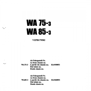 Komatsu WA85-3 Wheel Loader Service Manual