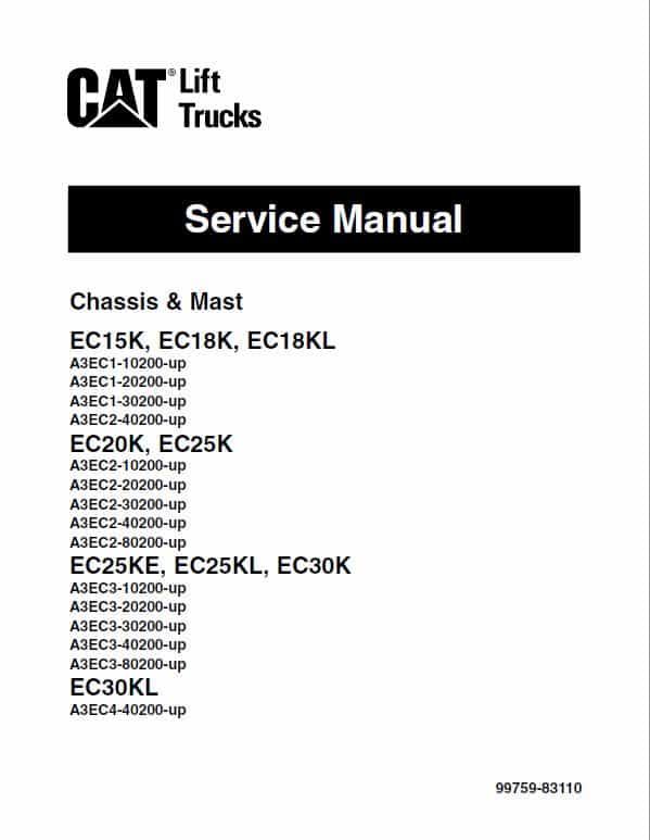 CAT EC25K, EC25KE, EC25KL, EC30K, EC30KL Forklift Lift Truck Service Manual