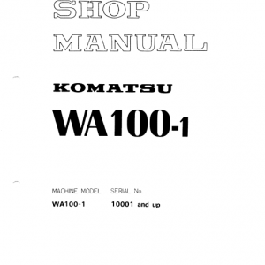 Komatsu WA100-1 Wheel Loader Service Manual
