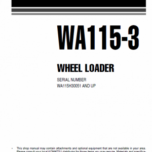 Komatsu WA115-3 Wheel Loader Service Manual