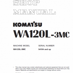 Komatsu WA120L-3, WA120L-3MC Wheel Loader Service Manual