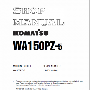 Komatsu WA150PZ-5 Wheel Loader Service Manual
