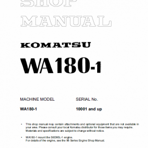 Komatsu WA180-1 Wheel Loader Service Manual