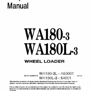 Komatsu WA180-3, WA180L-3 Wheel Loader Service Manual