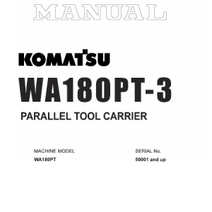 Komatsu WA180PT-3 Wheel Loader Service Manual