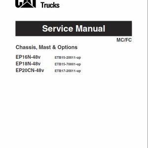CAT EP16N-48V, EP18N-48V, EP20CN-48V Forklift Lift Truck Service Manual
