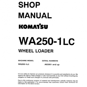 Komatsu WA250-1, WA2501LC Wheel Loader Service Manual