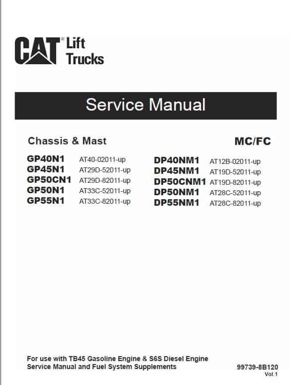 CAT GP40N1, GP45N1, GP50CN1, GP50N1, GP55N1 Lift Truck Service Manual