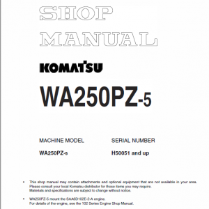 Komatsu WA250PZ-5 Wheel Loader Service Manual