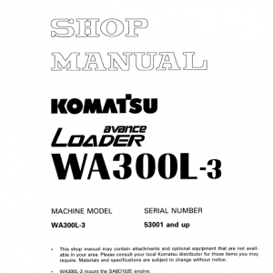 Komatsu WA300L-3 Wheel Loader Service Manual