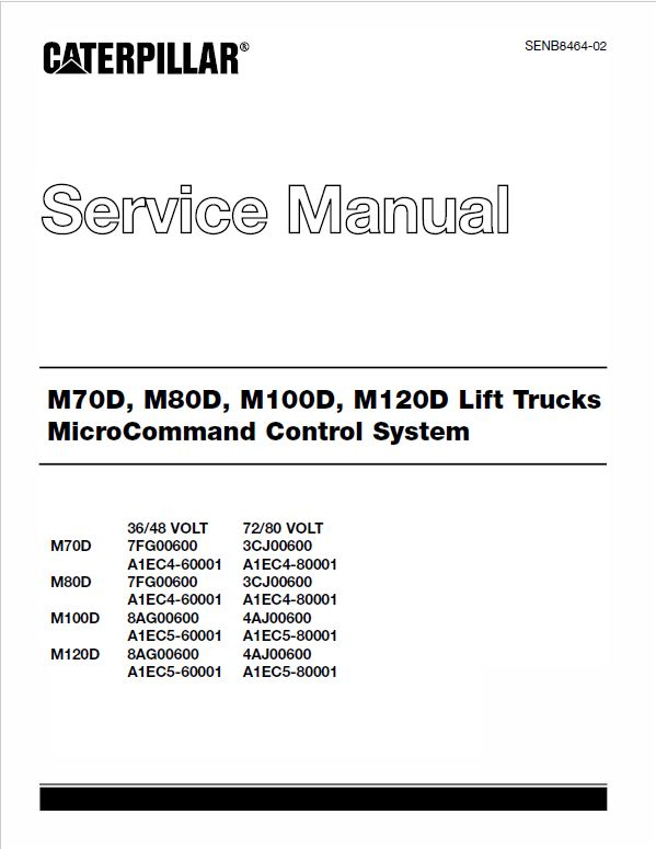 CAT M70D, M80D, M100D, M120D Forklift Lift Truck Service Manual