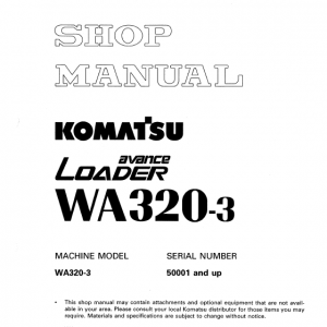 Komatsu WA320-3 Wheel Loader Service Manual