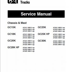 CAT GC15K, GC18K, GC20K, GC20K HP Forklift Lift Truck Service Manual