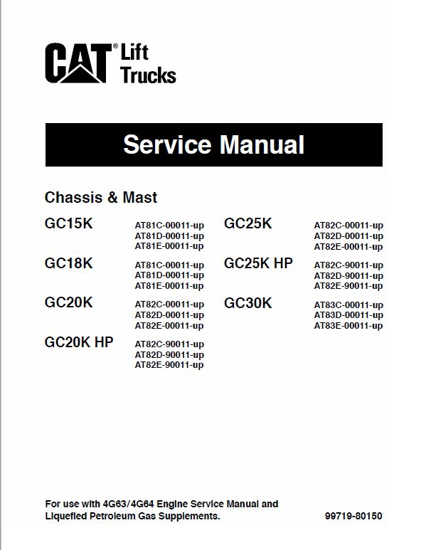 CAT GC15K, GC18K, GC20K, GC20K HP Forklift Lift Truck Service Manual