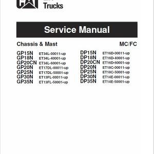 CAT DP15N, DP18N, DP20CN, DP20N Forklift Lift Truck Service Manual